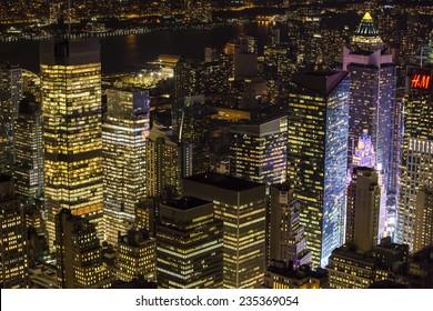 New York City, USA - November 4: Aerial view of Manhattan at night in New York City, USA on November 4, 2014.
