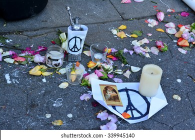 New York City, USA - November 16, 2015: Memorial for the terrorist attacks in Paris in Washington Square Park in New York City.