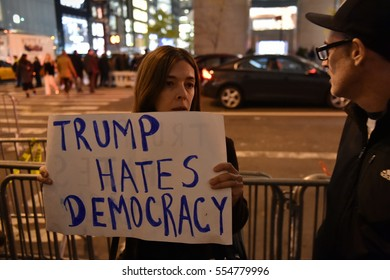 New York City, USA - November 16, 2016: Protesters gather outside Trump Tower in opposition to the November 8 election of Donald Trump to office as the president of the United States.