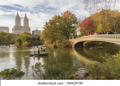 New York City, U.S.A  - November 4th, 2017:  Bow Bridge in central park during Autumn