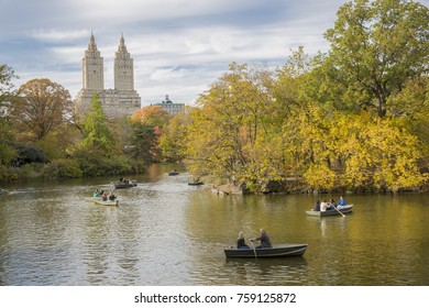 New York City, U.S.A  - November 4th, 2017:  kayaking activity in central park during Autumn