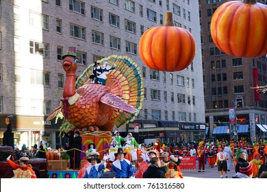 NEW YORK CITY, USA- NOVEMBER 23 2017: the 91th annual Macy's Thanksgiving Day parade attracted hundreds of thousands of spectators.