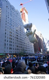 NEW YORK CITY, USA- NOVEMBER 23 2017: the 91st annual Macy's Thanksgiving Day parade attracted hundreds of thousands of spectators. The pillsbury doughboy float