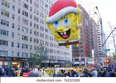 NEW YORK CITY, USA- NOVEMBER 23 2017: the 91st annual Macy's Thanksgiving Day parade attracted hundreds of thousands of spectators. Spongebob Squarepants balloon