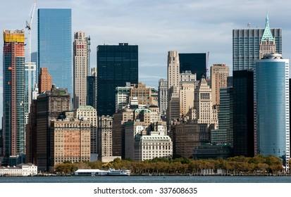NEW YORK CITY, USA - OCOBER 14, 2015: Downtown Manhattan, New York City, USA