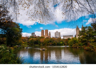 New York City - USA - Oct 28 2019: Fall foliage color of Central Park in Manhattan