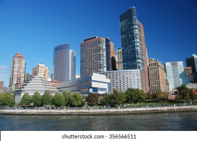 NEW YORK CITY, USA - Oct 26, 2008: Skyline and East River NYC most powerful place of America with five boroughs - Brooklyn, Queens, Manhattan, the Bronx, Staten Island