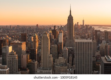 New York City, New York/ USA - October 31, 2017: New York City skyline and The Empire State building view during sunset from Top of the Rock