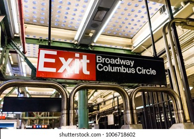 New York City, USA - October 28, 2017: Broadway Columbus Circle exit sign closeup in underground platform transit in NYC Subway Station