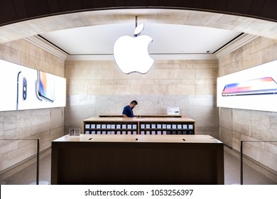 New York City, USA - October 29, 2017: Grand Central Station Apple Mac store iPhone phone service in NYC main hall, transportation concourse, sign logo