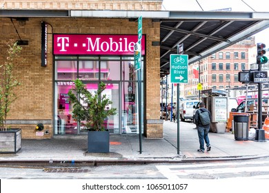 New York City, USA - October 30, 2017: T-Mobile company pink store, Hudson River sign in downtown lower midtown Chelsea neighborhood district in Manhattan NYC