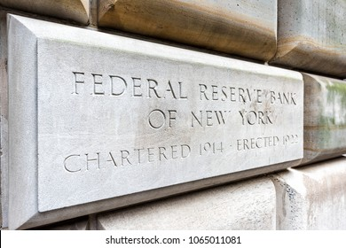 New York City, USA - October 30, 2017: Federal Reserve Bank sign closeup in downtown lower financial district Manhattan NYC