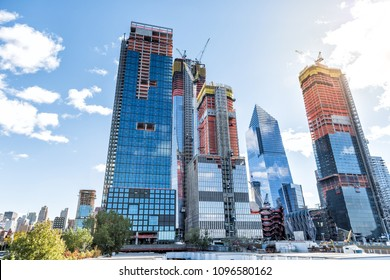 New York City, USA - October 30, 2017: Construction development at the Hudson Yards in Manhattan, NYC, on Chelsea West Side of residential apartments, offices