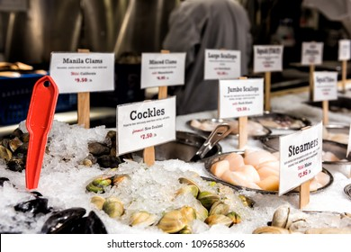 New York City, USA - October 30, 2017: Market food Lobster place shop in Chelsea neighborhood district Manhattan NYC, seafood on display