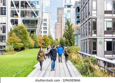 New York City, USA - October 30, 2017: Highline, high line boardwalk, walk, urban garden in New York City NYC with many people tourists walking in Chelsea West Side by Hudson Yards, green lawn