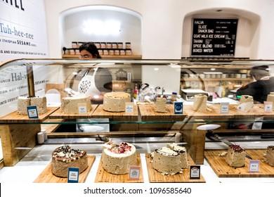New York City, USA - October 30, 2017: Market food shop interior inside in downtown lower Chelsea neighborhood district Manhattan NYC, Seed Mill, many dessert halvah store, vegan