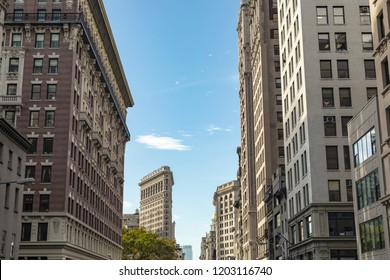 New York City, USA - October 10, 2017: Street view of the Flatiron building in the city of New York, USA.