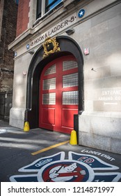 NEW YORK CITY, USA - OCTOBER 12, 2018: The Hook & Ladder 8 Firehouse. The firehouse was made famous in the film Ghostbusters. Located in Tribeca, lower Manhattan.