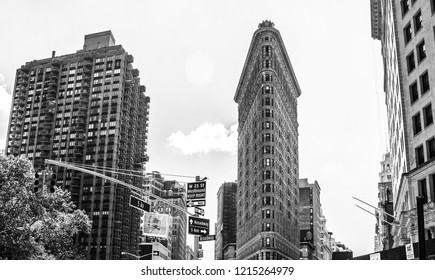 New York City, USA - October 10, 2015: Flatiron Building. View of famous Flatiron Building in midtown Manhattan New York. Black and white photo.