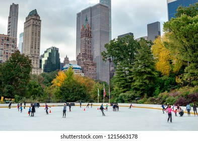 New York City , USA - October 28, 2018 : Wollman Ice Rink in Central Park , New York City