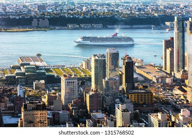 NEW YORK CITY, USA - October 5, 2016: New York  Upper West Side with construction of Hudson Yard and the Jacob K.Javits Convention Center