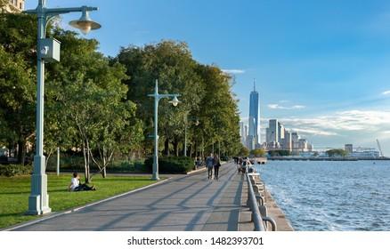 NEW YORK CITY, USA - OCTOBER 18, 2018 : Walkway  at  Hudson River Park in New York, USA.