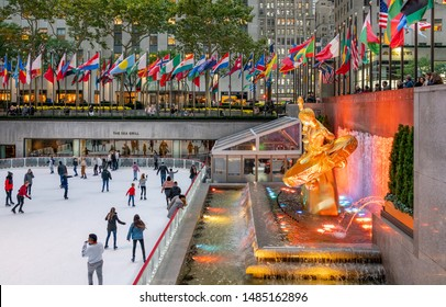 NEW YORK CITY, USA : OCTOBER 23, 2018 :  View of the iconic ice skating rink at Rockefeller Center in New York, USA.  The rink is open seasonally every year.