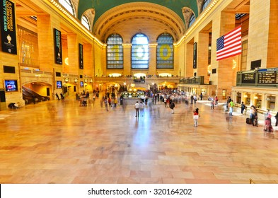 New York City, USA - October 12 : Interior of Grand Central station with lots of passengers passing through in Manhattan, New York City on October 12, 2013.
