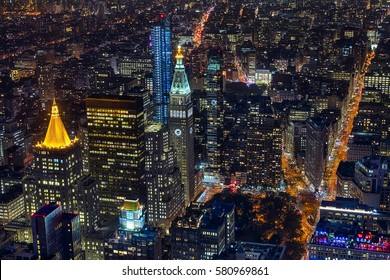 New York City, USA - October 5, 2016: New York  Midtown in the night, with a Census-estimated population of over 8.4 million in 2013 is the most populous city in the United States