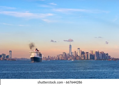 New York City, USA - October 11, 2016: Transatlantic ocean liner Queen Mary 2 in New York Harbor.