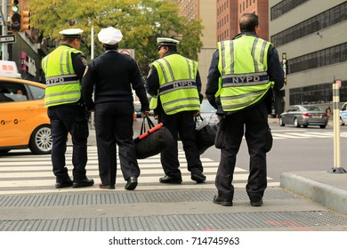 NEW YORK CITY, USA - OCTOBER 2016 : Midtown NYPD Police officers starting their service on an autumn afternoon