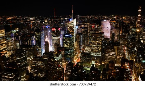 New York City, USA - October 1, 2017: The skyline of midtown Manhattan at night.