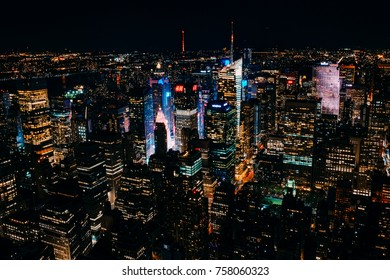 New York City - U.S.A - October 2,2017:Times Square view at night from the Empire state building