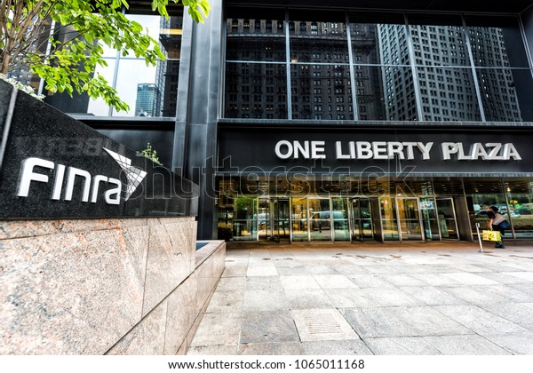 New York City, USA - October 30, 2017: Sign on the building of Financial Industry Regulatory Authority, or Finra, in Manhattan NYC lower financial district downtown at One Liberty Plaza
