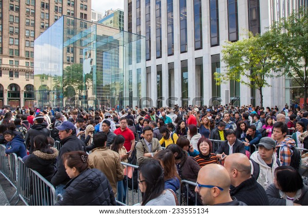NEW YORK CITY, USA - OCTOBER, 2014: People waiting in line for the iPhone 6 on release day in New York City