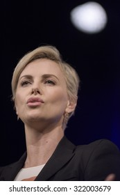 NEW YORK CITY, USA - SEP 28TH: Charlize Theron became tearful when recalling the positive changes in HIV/AIDS education in her home country of South Africa at the Social Good Summit 2015.