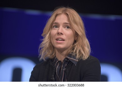 NEW YORK CITY, USA - SEP 28TH Sienna Miller, actress, activist talks about her work with the International Medical Corps at The Social Good Summit 2015.
