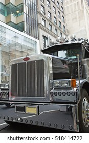 NEW YORK CITY, USA  SEPT 22, 2012:  Peterbilt Motors Company, founded in 1939, is an American manufacturer of medium- and heavy-duty Class 5 through Class 8 trucks.New York. September 22, 2012.
