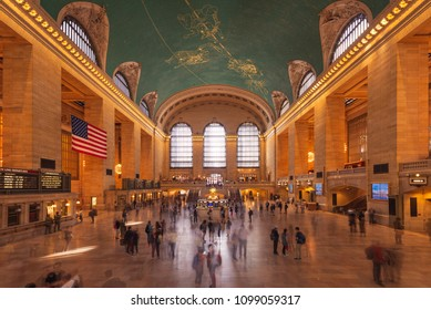 New York City, USA - September 6, 2017: View of the main concourse of the Grand Central Terminal in the city of New York, USA.