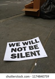 New York City, New York / USA - September 08 2018: We Will Not Be Silent: Poster left on the sidewalk following the New York City Labor Day Parade.