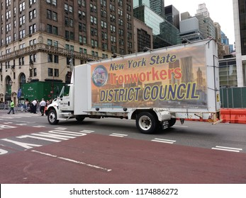 New York City, New York / USA - September 08 2018: New York State Ironworkers District Council truck during the New York City Labor Day Parade.