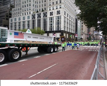 New York City, New York / USA - September 08 2018: Iron Workers Local 40 represented at the New York City Labor Day Parade.