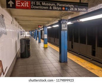 New York City, Usa - September 10, 2018: Subway station of 81 street, the museum of natural history.