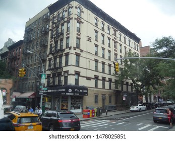 New York City, USA- September 2017: Close street shot of buildings and traffic in a sidestreet in New York City.