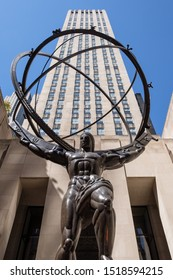 New York City, USA - September 2019: Statue of Atlas in front of the Rockefeller Center