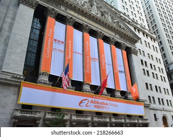New York City, USA - September 19, 2014: Sign at the New York Stock Exchange marking the Initial Public Offering of the e commerce company the Alibaba Group in New York City.