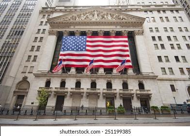 NEW YORK CITY, USA - SEPTEMBER 7: Wall Street and New York Stock Exchange on a rainy day. New York City, USA sept 7 2011