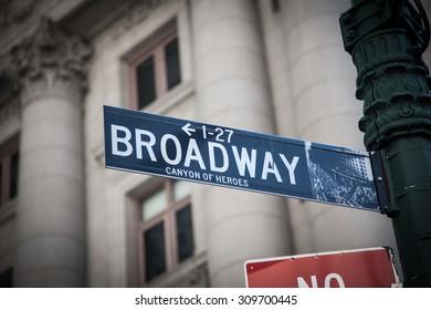 NEW YORK CITY, USA - SEPTEMBER, 2014: Broadway street sign in Manhattan New York