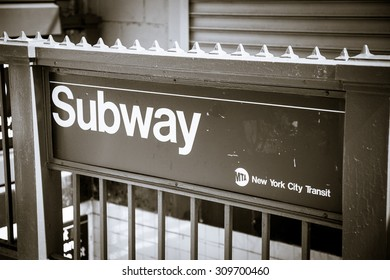 NEW YORK CITY, USA - SEPTEMBER, 2014: New York City subway entrance