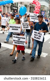 NEW YORK CITY, USA - SEPTEMBER, 2014: Protesters during the New York City Labor Day Parade 2014